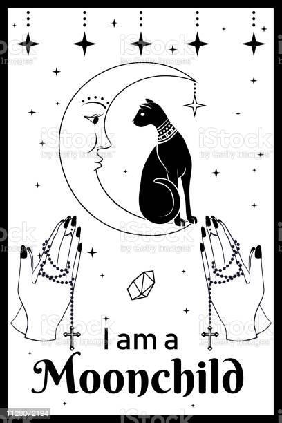 Black cat on the moon praying hands holding a rosary i am a moonchild vector id1128072194?b=1&k=6&m=1128072194&s=612x612&h=jszytynhx2cc hppw8px rcxlqqs9qsp tpdeozco5w=