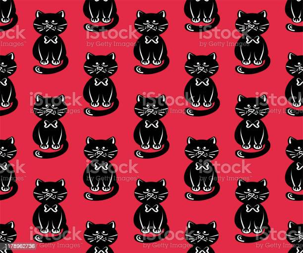 Black cat pattern in modern style on a red background beautiful vector id1178962736?b=1&k=6&m=1178962736&s=612x612&h=8wngzekuwzzudmdmuv66yatmezcpvdbklyzv6zhaybg=