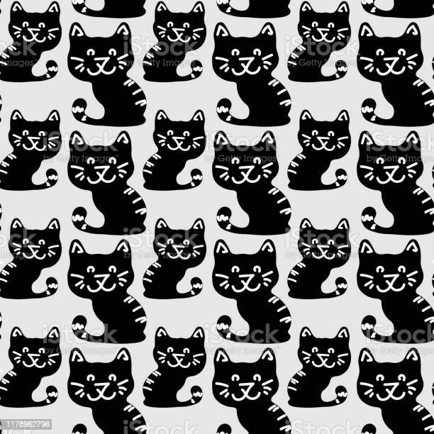 Black cat pattern in modern style on a white background beautiful vector id1178962796?b=1&k=6&m=1178962796&s=612x612&h=bla6yutwm5bhqlyu0z386c wzlxhzg7irc2m6f8ke4e=