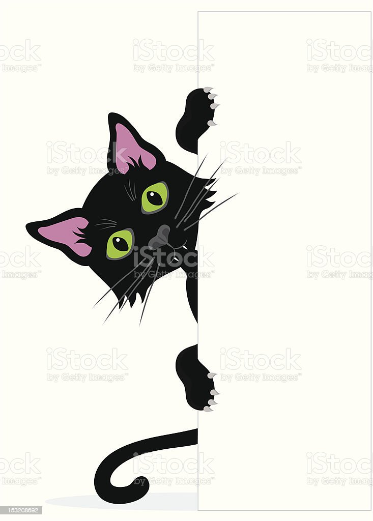 Black cat peeping around the side of  blank sign. royalty-free stock vector art