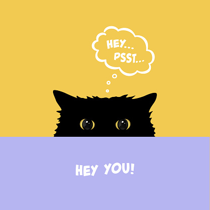 Black cat playing Hide and Seek. Cute cat with yellow eyes peeking over table. Flat illustration with comic dialog cloud with psst text. Vector Illustration.