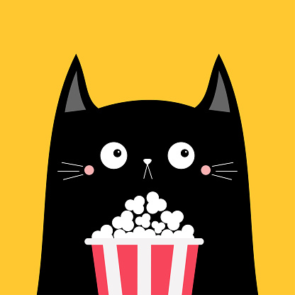 Black cat popcorn box. Cute cartoon funny character. Cinema theater. Film show. Kitten watching movie. Kids print for tshirt notebook cover. Yellow background. Isolated. Flat design