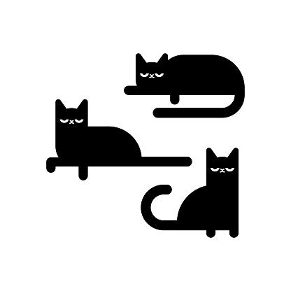 Black cat set icon. Pet set vector illustration