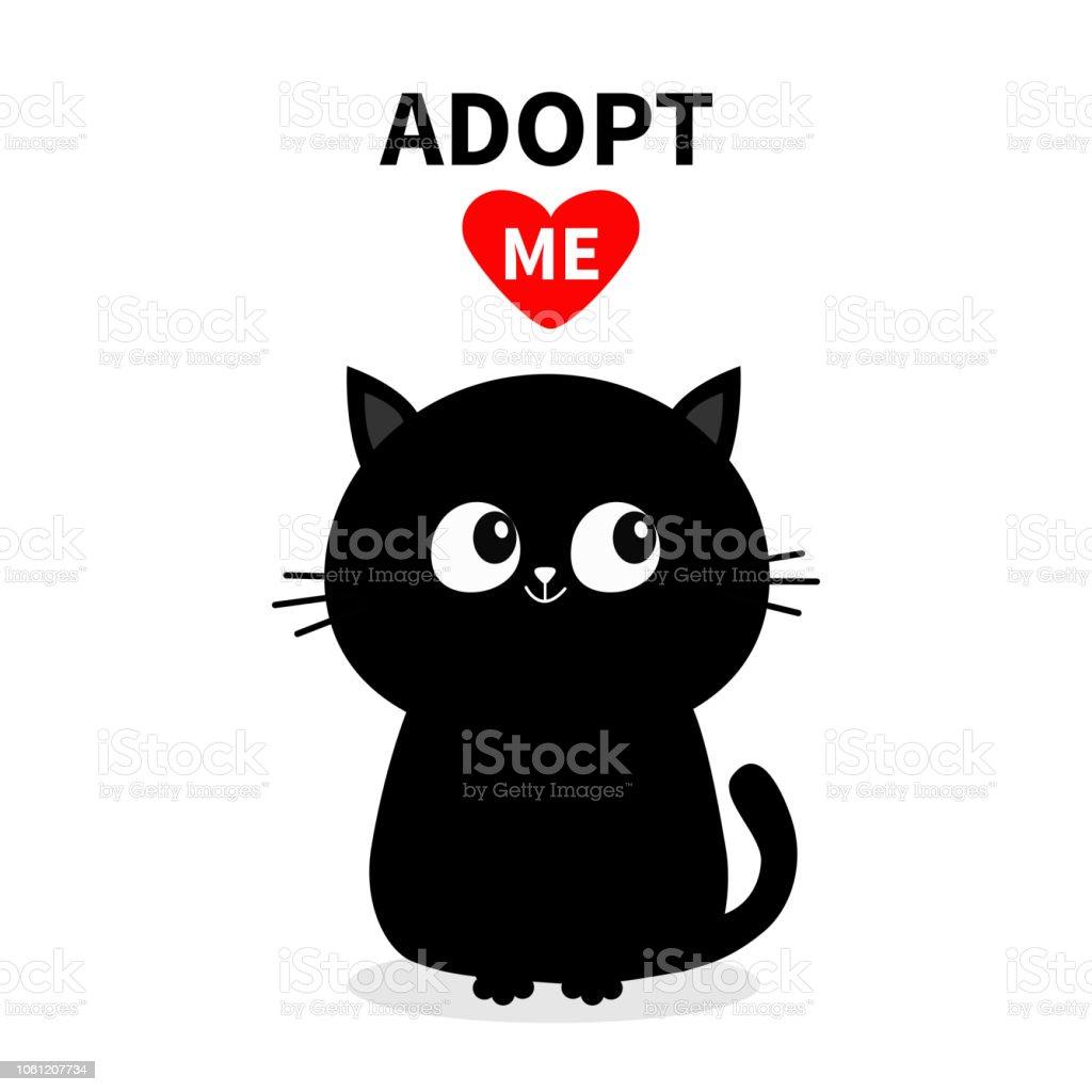 Silhouette De Chat Noir Adoptezmoi Coeur Rouge Adoption Animaux De