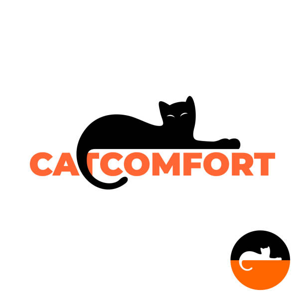ilustraciones, imágenes clip art, dibujos animados e iconos de stock de silueta de gato negro puesta en un letrero de texto. - comfortable