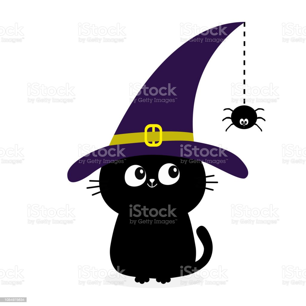 Black Cat Silhouette Looking To Hanging On Dash Line Web Spider Insect Witch Hat Cap Happy Halloween Baby Pet Animal Collection Cute Cartoon Character Flat Design White Background Stock Illustration Download
