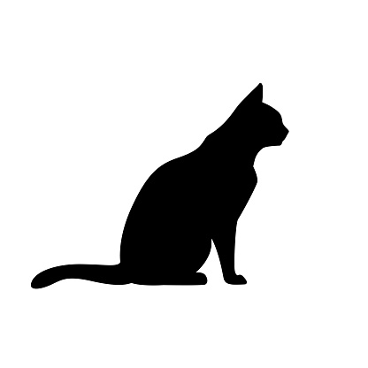 Black Cat Silhouette on White Background. Icon Vector Illustration.