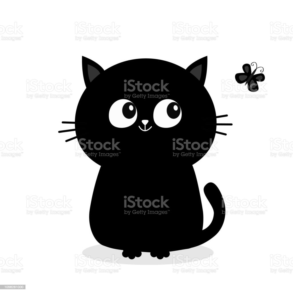 Ilustración De Silueta De Gato Negro Sentado Mirando Insecto