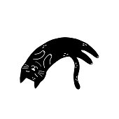 Black cat sleeping isolated element. Cute feline character in cartoon style. Great for t-shirts, mugs. Vector illustration
