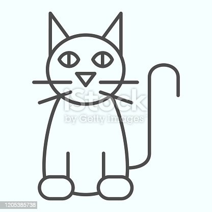 istock Black cat thin line icon. Sitting pet pose silhouette. Halloween vector design concept, outline style pictogram on white background, use for web and app. Eps 10. 1205385738