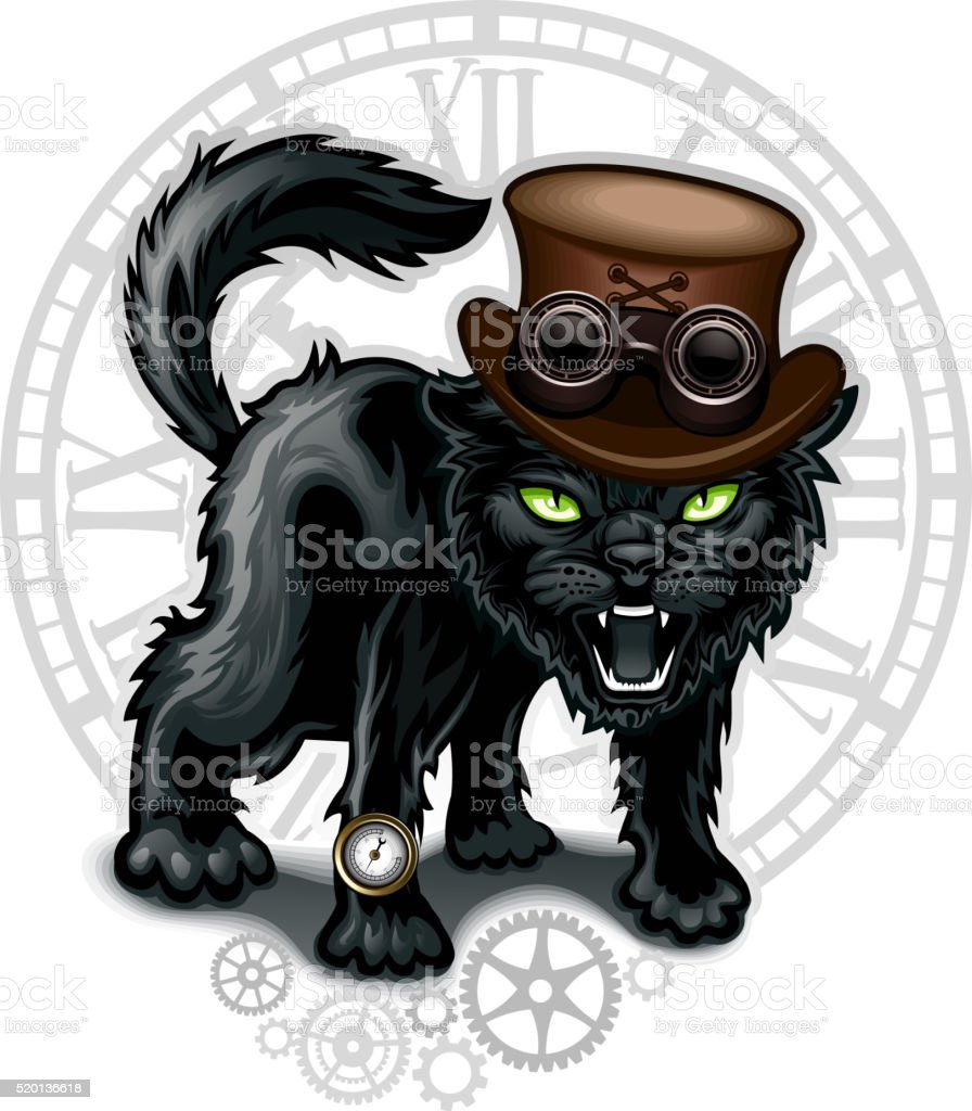 Black cat vector art illustration