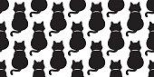 black Cat vector seamless pattern kitten doodle isolated wallpaper background cartoon