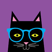 Black Cat Wearing Glasses