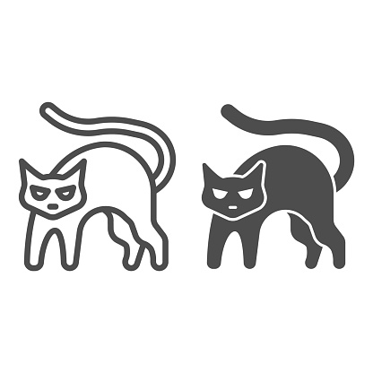 Black cat with arched back line and solid icon, halloween concept, hissing cat sign on white background, bad luck symbol icon in outline style for mobile concept and web design. Vector graphics.
