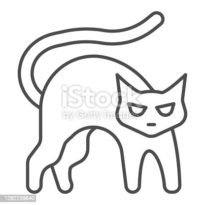 istock Black cat with arched back thin line icon, halloween concept, hissing cat sign on white background, bad luck symbol icon in outline style for mobile concept and web design. Vector graphics. 1282239840