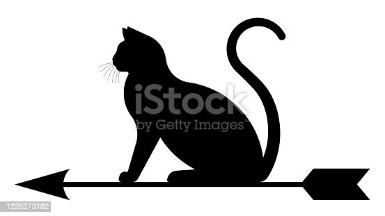 Black cat with arrow. Black silhouette of a weather vane.