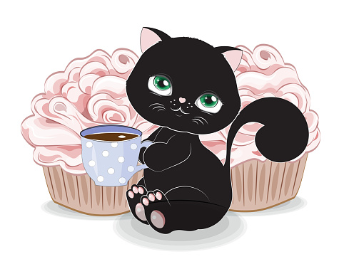 Black cat with cup and cupcake