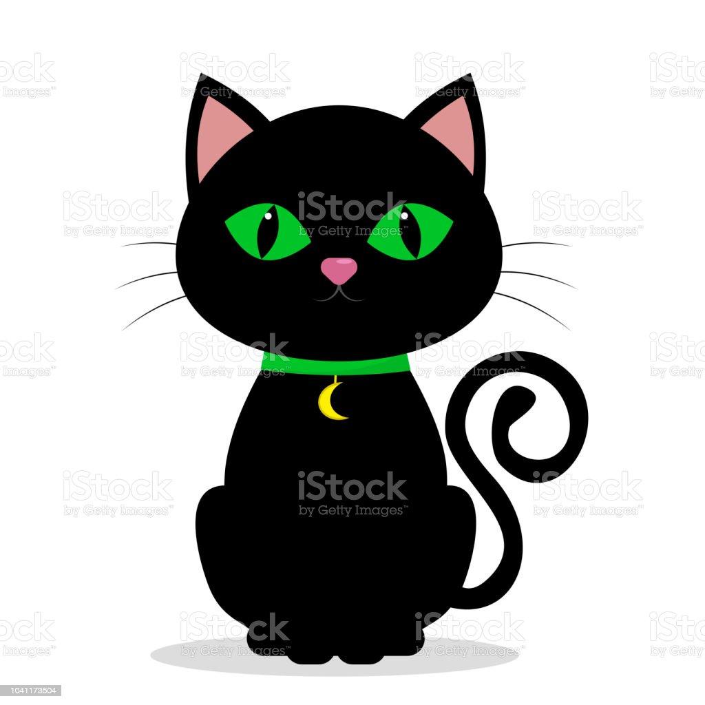 Chat Noir Aux Yeux Verts Sur Le Cou Dun Medolene En Forme De Lune
