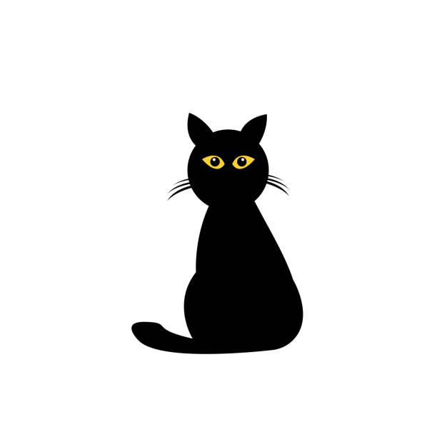black cat with orange luminous eyes on a white background vector art illustration