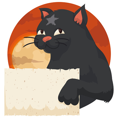 Black Cat with Star in its Fur Holding a Scroll