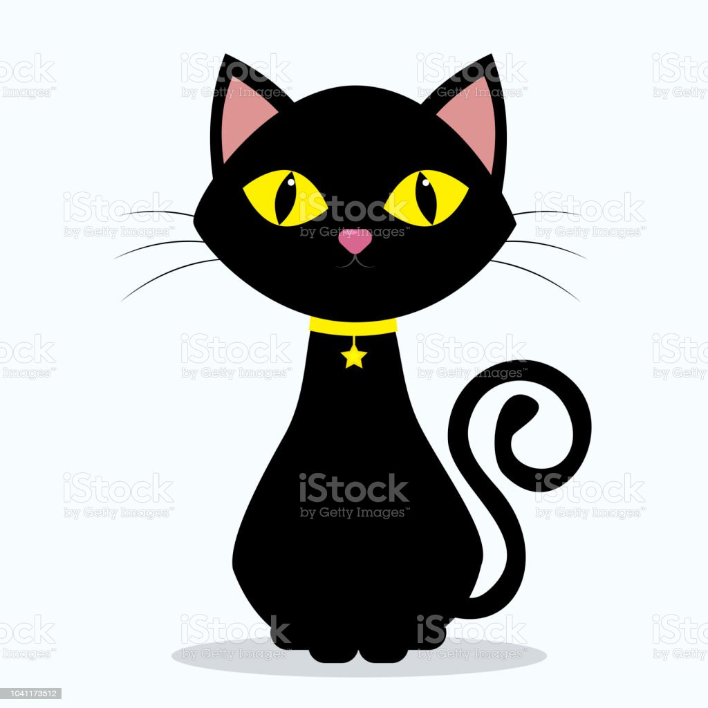 Black Cat With Yellow Eyes On The Neck Of A Medallion In The Shape Of A Star On A Yellow Ribbon Isolated On A White Background Stock Illustration Download Image Now