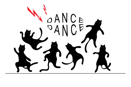 Black cats dancing. Funny silhouette for your design.