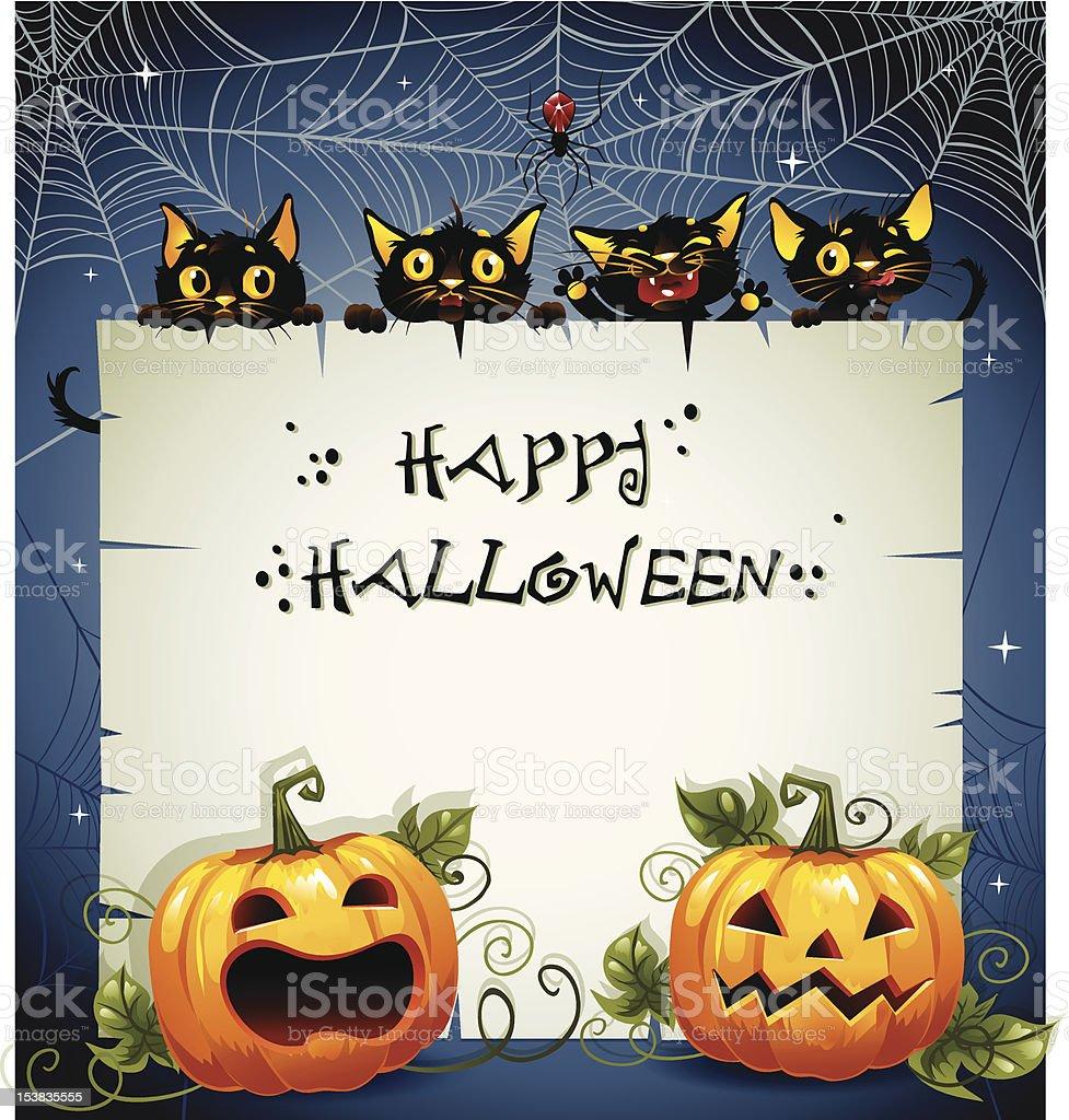 Black Cats night Halloween background royalty-free stock vector art