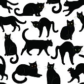 black cats seamless