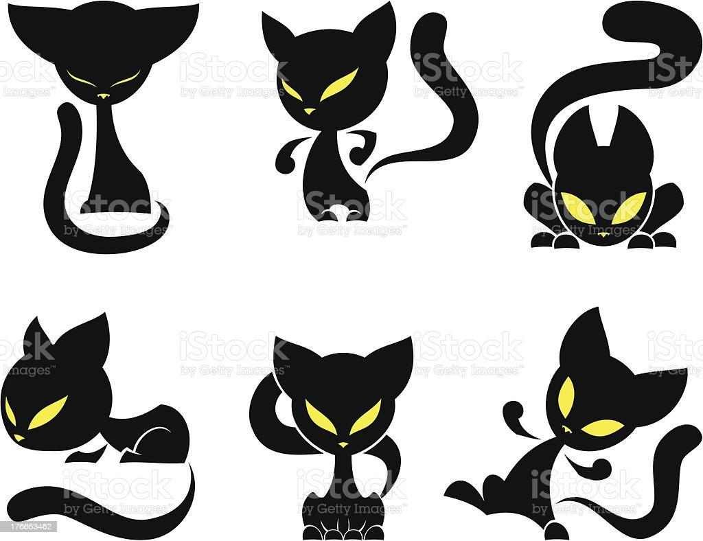 Black cats set vector art illustration