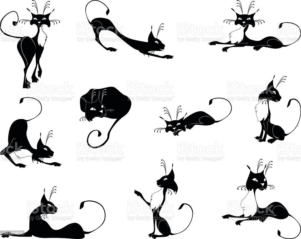 Black cats vector art illustration