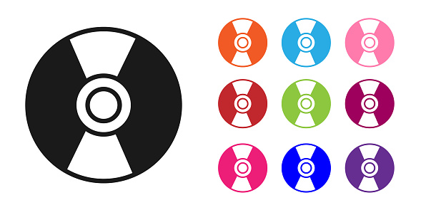 Black CD or DVD disk icon isolated on white background. Compact disc sign. Set icons colorful. Vector Illustration
