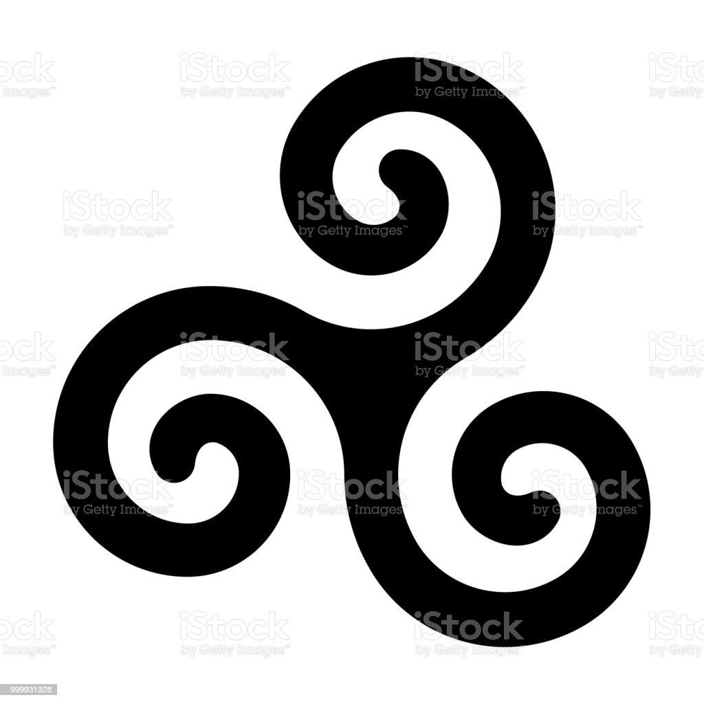 Black celtic spiral triskele on white background vector art illustration