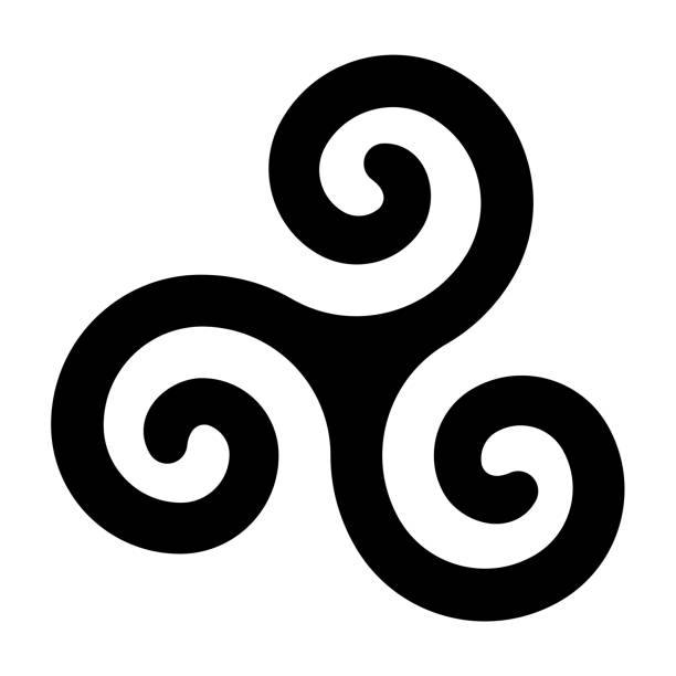 Black celtic spiral triskele on white background Black celtic spiral triskele on white background. Triskelion. A motif consisting of a triple spiral exhibiting rotational symmetry. Three twisted and connected spirals. Isolated illustration. Vector. celtic style stock illustrations