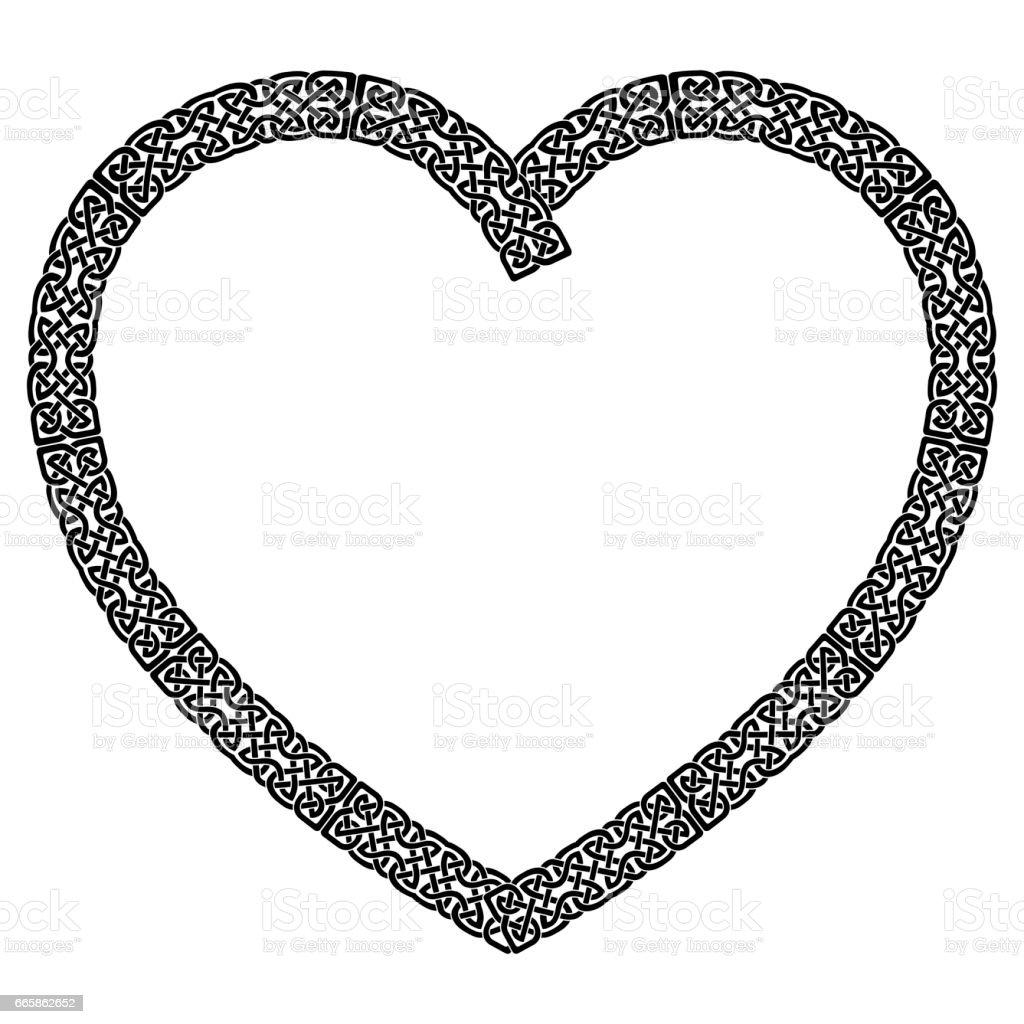 Ilustración de Corazón De Estilo Anudado Negro Celta Con El Patrón ...