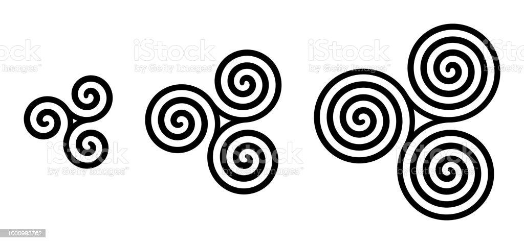 Black celtic triskelion spirals over white vector art illustration