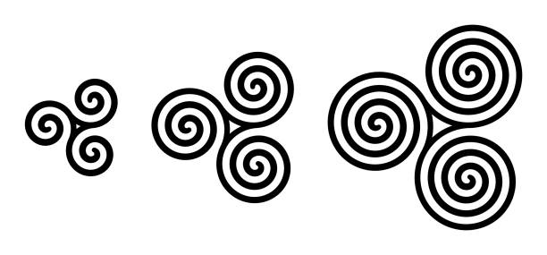 Black celtic triskelion spirals over white Black celtic triskelion spirals over white. Triple spirals with two, three and four turns. Motifs of three twisted and connected spirals, exhibiting rotational symmetry. Isolated illustration. Vector. celtic style stock illustrations