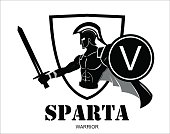Trojan / Spartan warrior silhouette holding shield and sword over the shield icon. 'V' letter on the holded shield, symbolizing Victory, Viva etc. You can replace the 'V' on the shield with your initial group.