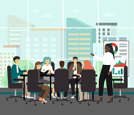 Black chairwoman, concept vector illustration. Board of directors meeting with black woman as a CEO. Business executive meeting and presentation. Business concefence and team work