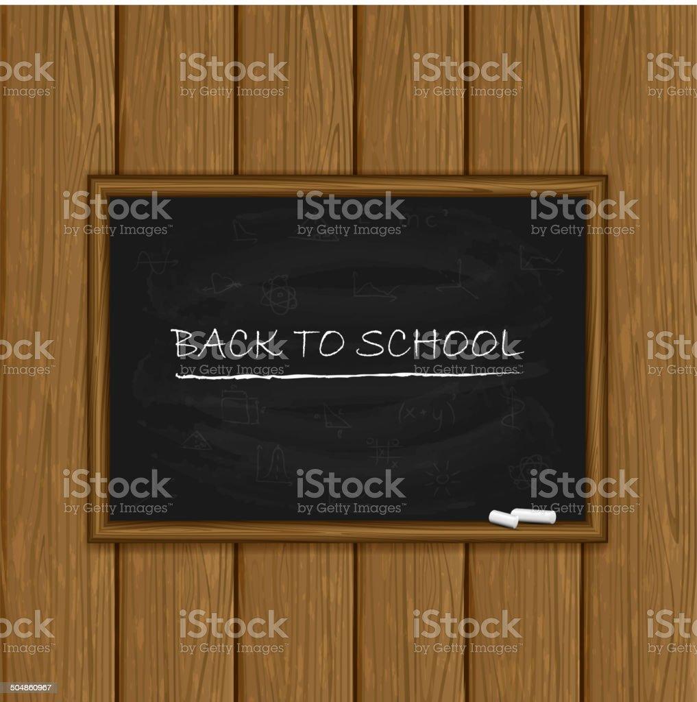 Tableau noir sur fond en bois - Illustration vectorielle