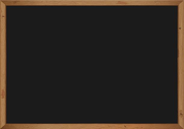 черные доски с деревянной рамкой - классная доска stock illustrations