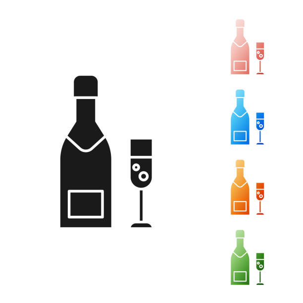 Black Champagne bottle and glass of champagne icon isolated on white background. Merry Christmas and Happy New Year. Set icons colorful. Vector Illustration Black Champagne bottle and glass of champagne icon isolated on white background. Merry Christmas and Happy New Year. Set icons colorful. Vector Illustration champaign illinois stock illustrations
