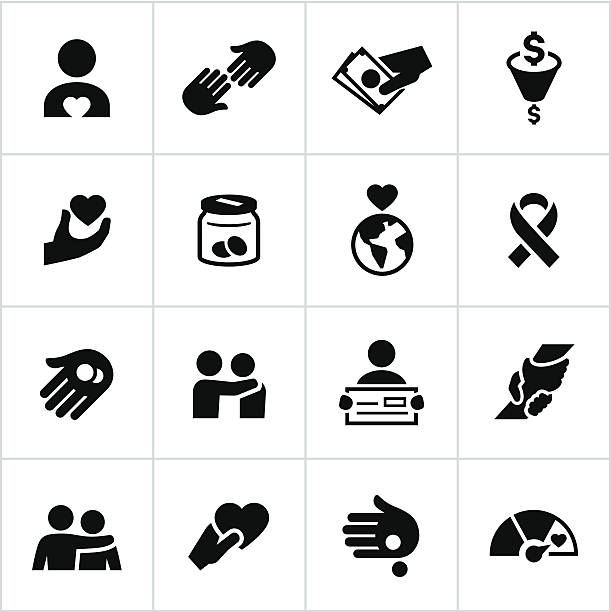 Black Charity Icons vector art illustration