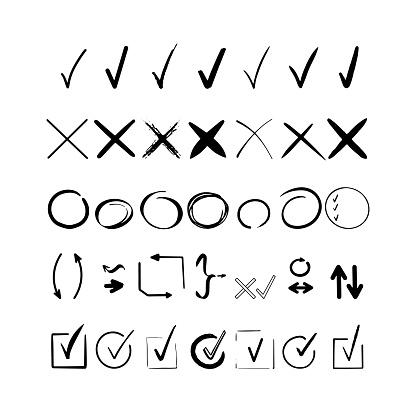 Black check mark. Hand drawn tick V X yes no ok sign. Checkbox chalk icon, sketch checkmark. Graphic design doodle element list item. Vector illustration vote checklist arrow set. Speech bubble symbol