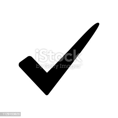 Black check mark icon isolated on white background. Vector illustration