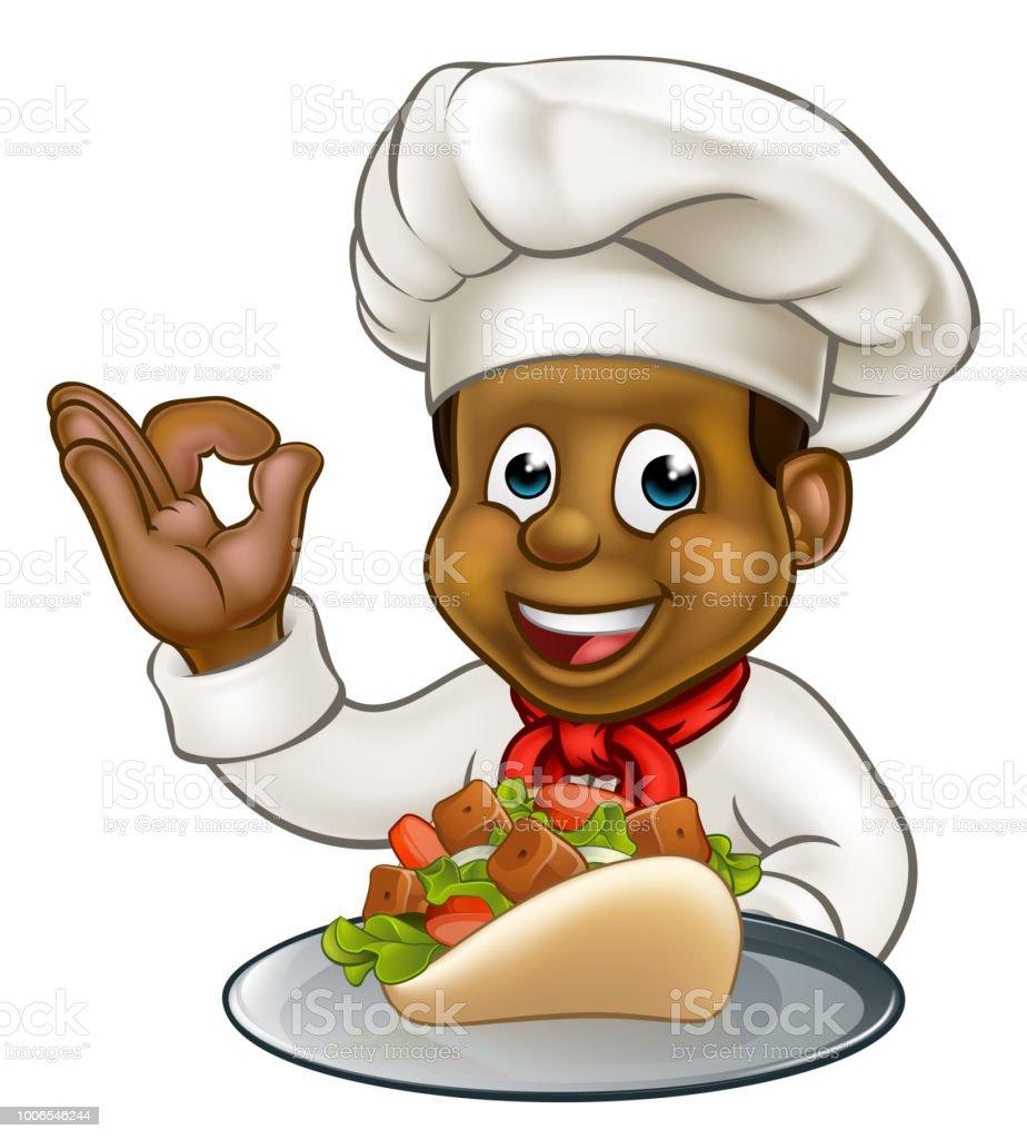 Black Chef Holding Kebab vector art illustration