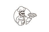 Black Chef Pizza Logo Design Illustration
