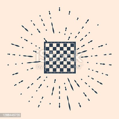 istock Black Chess board icon isolated on beige background. Ancient Int 1288445720