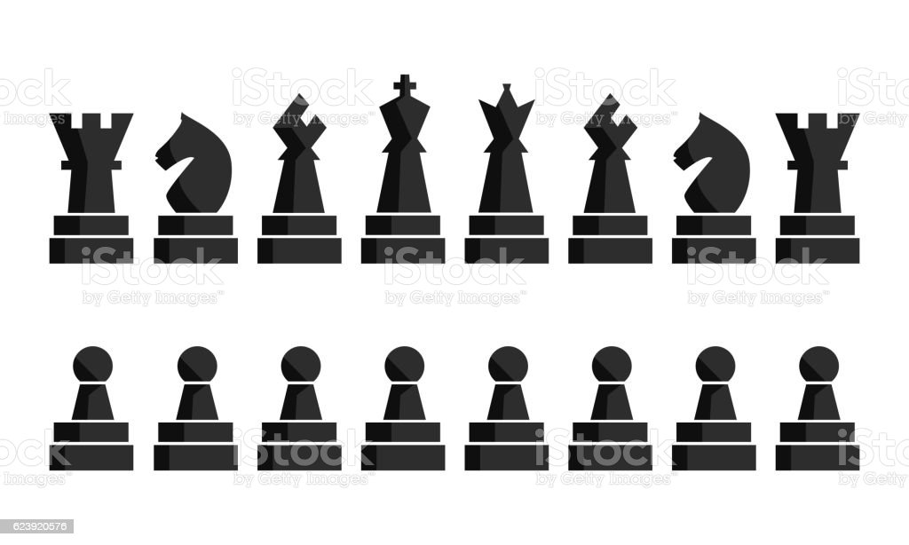 Black chess icons set board figures. Vector illustration pieces. Nine