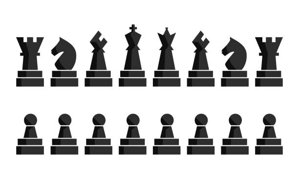 Black chess icons set board figures. Vector illustration pieces. Nine Black chess icons set. Chess board figures. Vector illustration chess pieces. Nine different objects including king, queen, bishop, knight, rook, pawn chess knight silhouette stock illustrations