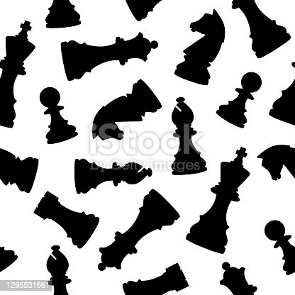 istock Black Chess Pieces Seamless Pattern 1295531561